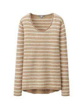 women-light-cashmere-striped-sweater by uniqlo