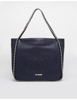 love-moschino-studded-shopper-bag-in-navy by love-moschino
