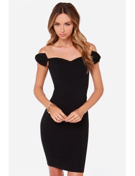 lulus-exclusive-way-to-bow-off-the-shoulder-black-dress by lulus