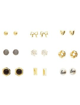 bow-&-pearl-stud-earrings---9-pack by charlotte-russe