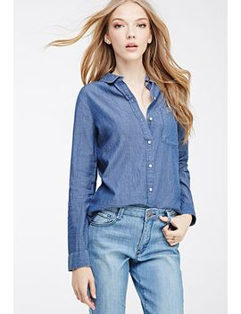 chambray-button-down-shirt by forever-21