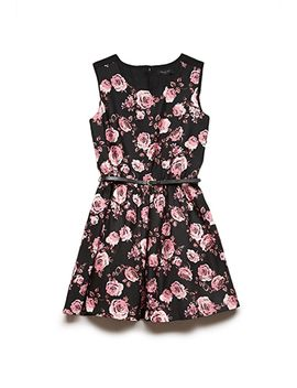 belted-rose-print-dress-(kids) by forever-21