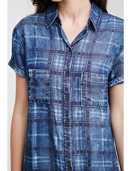 plaid-denim-shirt-dress by forever-21