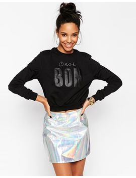 asos-cropped-sweatshirt-with-cest-bon by asos-collection