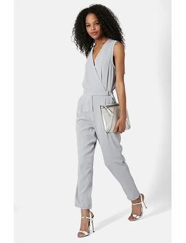 sleeveless-wrap-front-jumpsuit by topshop