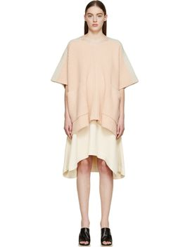 blush-pink-&-beige-bi-color-cashmere-poncho by chloé