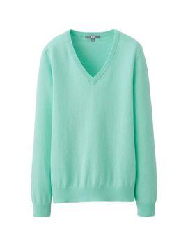 women-cotton-cashmere-v-neck-sweater by uniqlo
