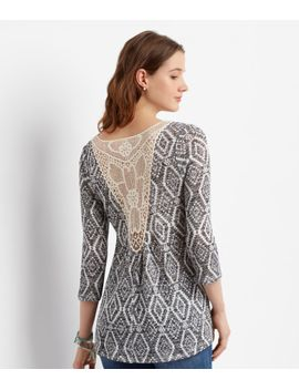 3_4-sleeve-sheer-southwestern-crochet-back-top by aeropostale