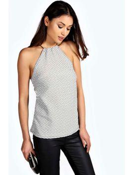 yasmin-textured-fabric-elastic-strap-top by boohoo