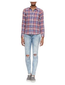 the-slim-plaid-boy-shirt-&-the-ankle-skinny-city-bleached-jeans by current_elliott