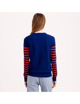 striped-sleeve-sweater by jcrew