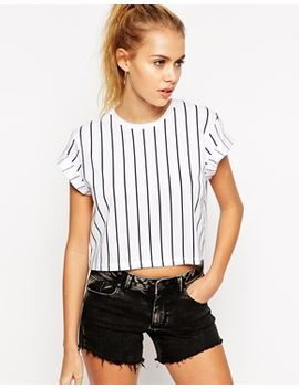 asos-cropped-boyfriend-t-shirt-with-vertical-pinstripe by asos-collection