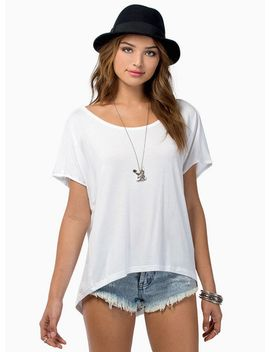 white-short-sleeve-falling-behind-tunic-top by sheinside