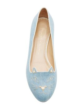 kitty-denim-flats by charlotte-olympia