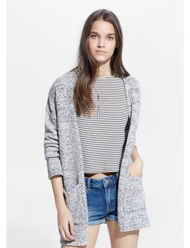 flecked-cotton-blend-cardigan by mango
