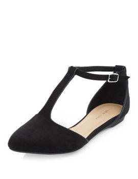 black-suedette-t-bar-strap-pointed-pumps by new-look