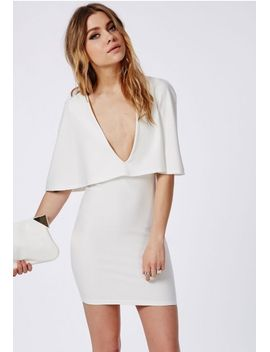 crepe-cape-bodycon-dress-white by missguided