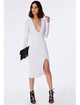 side-split-slinky-midi-dress-white by missguided