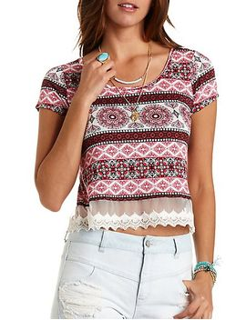 lace-trim-paisley-cropped-tee by charlotte-russe