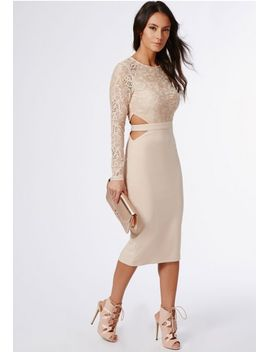 clemenca-lace-long-sleeve-cut-out-midi-dress-nude by missguided