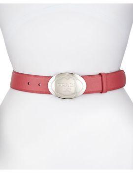 saffiano-oval-logo-belt,-peonia by prada