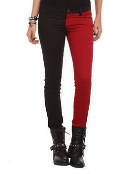 royal-bones-by-tripp-blood-red-and-black-split-leg-skinny-jeans by hot-topic