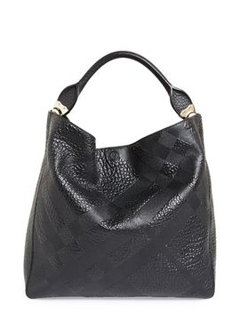 medium-lindburn-check-embossed-leather-hobo by burberry