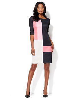 colorblock-scuba-shift-dress by new-york-&-company