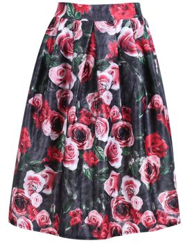 floral-print-midi-red-skirt by romwe