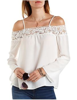 crochet-trim-cold-shoulder-swing-top by charlotte-russe