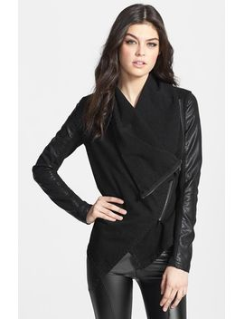 private-practice-mixed-media-drape-front-jacket by blanknyc