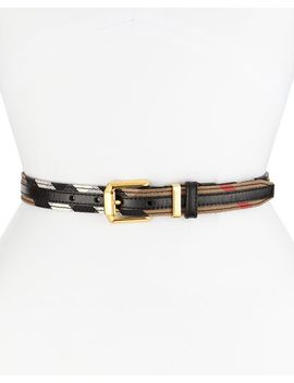check-canvas_leather-bridle-belt,-black by burberry