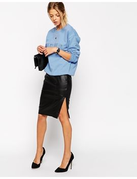 asos-pencil-skirt-in-leather-with-side-split by asos-collection