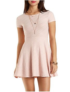 short-sleeve-textured-skater-dress by charlotte-russe