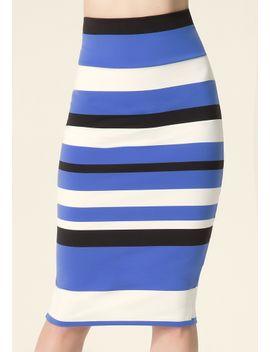 striped-midi-skirt by bebe