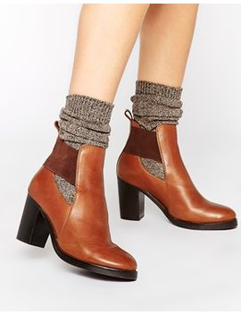 asos-exceptional-cut-out-elastic-leather-ankle-boots by asos-collection