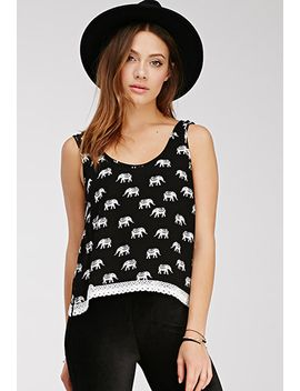 crochet-trimmed-elephant-print-top by forever-21