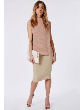 turtle-neck-long-line-knitted-vest-nude by missguided