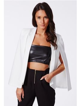 tannya-cape-blazer-white by missguided
