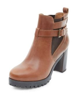 tan-leather-buckle-block-heel-chelsea-boots by new-look