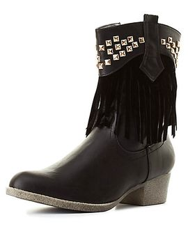 studded-fringe-cowboy-boots by charlotte-russe
