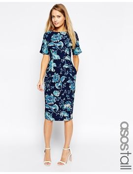 asos-tall-soft-paisley-wiggle-dress by asos-collection