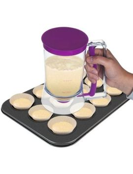 pancake-batter-dispenser-with-measuring-label--perfect-for-baking-cupcakes,-waffles,-cakes,-and-muffins--no-drip-dispenser-by-chef-buddy by chef-buddy