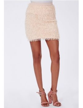 fringe-mini-skirt-nude by missguided