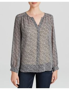 bellamira-mini-textural-animal-print-silk-top by joie