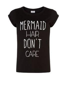petite-black-mermaid-hair-t-shirt by new-look