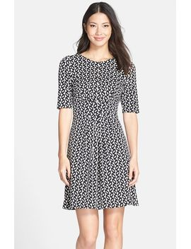 print-jersey-tie-waist-fit-&-flare-dress by maggy-london