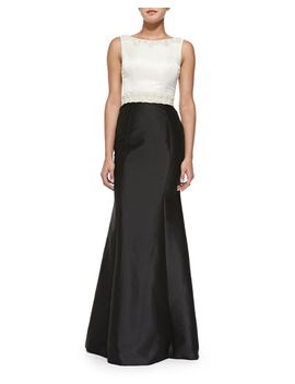 sleeveless-beaded-waist-colorblock-gown by theia