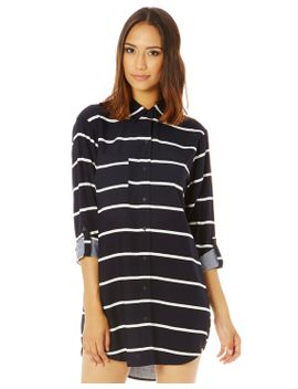 thin-stripe-drapey-shirt-dress by glassons