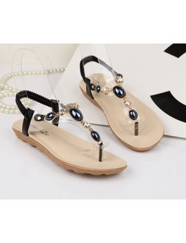 2015-new-women-summer-sandals-flat-sandals-flip-comfortable-pearl-rhinestone-shoes-wholesale by ali-express